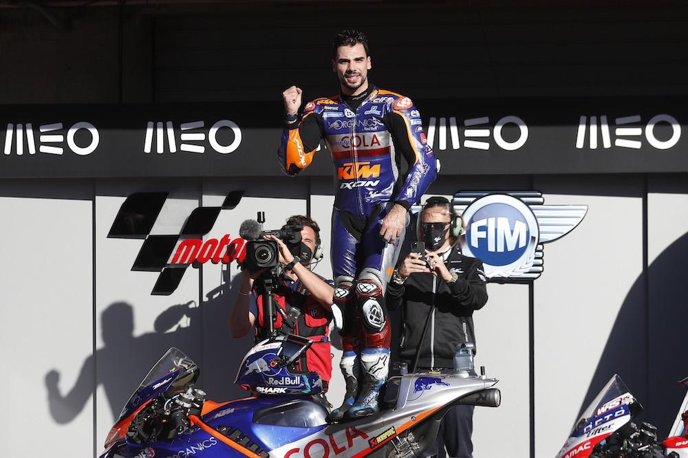 Red Bull KTM Tech 3's Miguel Oliveira celebrates winning the  Portuguese Grand Prix at the Algarve International Circuit, Portimao, Portugal, November 22, 2020. — Reuters pic
