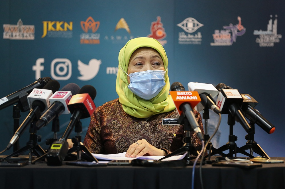 Tourism, Arts and Culture Minister Datuk Seri Nancy Shukri speaks during a press conference in Kuala Lumpur November 23, 2020. — Picture by Yusof Mat Isa