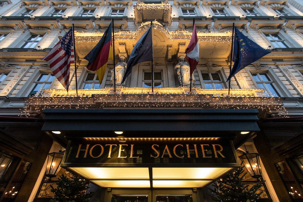 The entrance of the famous Hotel Sacher is pictured in Vienna November 25, 2020. — AFP pic