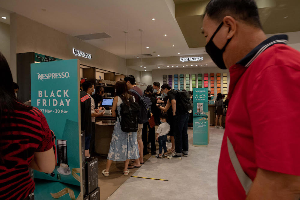 The Nespresso booth in Takashimaya department store on November 27, 2020. — TODAY pic