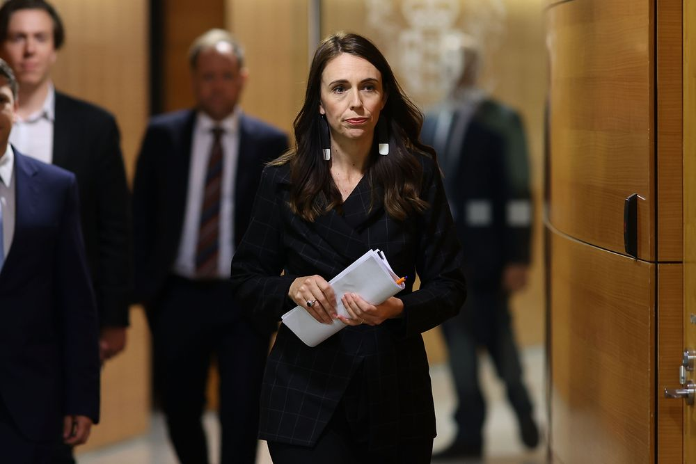 New Zealand's Prime Minister Jacinda Ardern arrives for a press conference to speak about the charges laid over the 2019 White Island volcanic eruption, in Wellington on November 30, 2020. — AFP pic