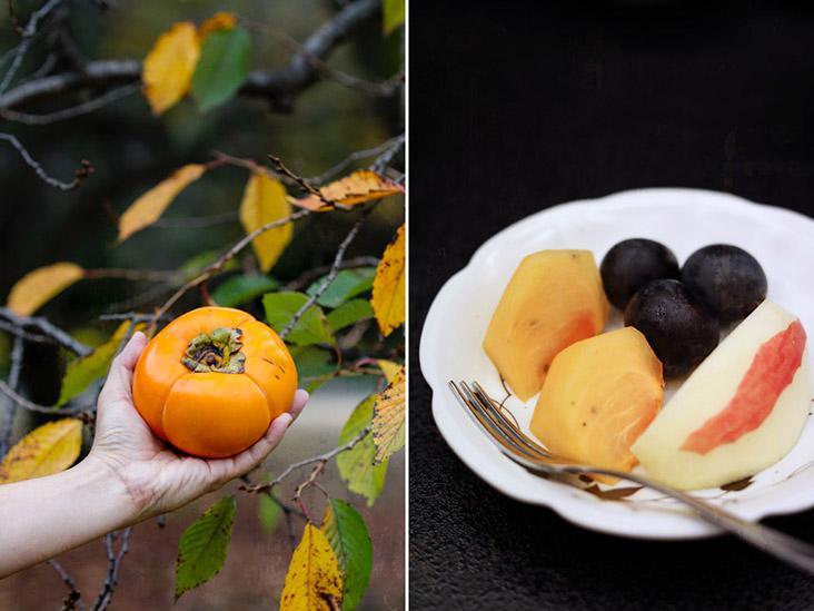 Fresh persimmons or 'kaki' often appear on dessert platters during autumn in Japan
