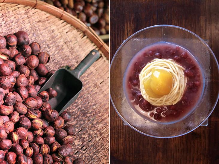 Roasted chestnuts ('yaki-guri') are transformed into 'kuri kinton' (chestnut purée), paired here with 'adzuki' beans