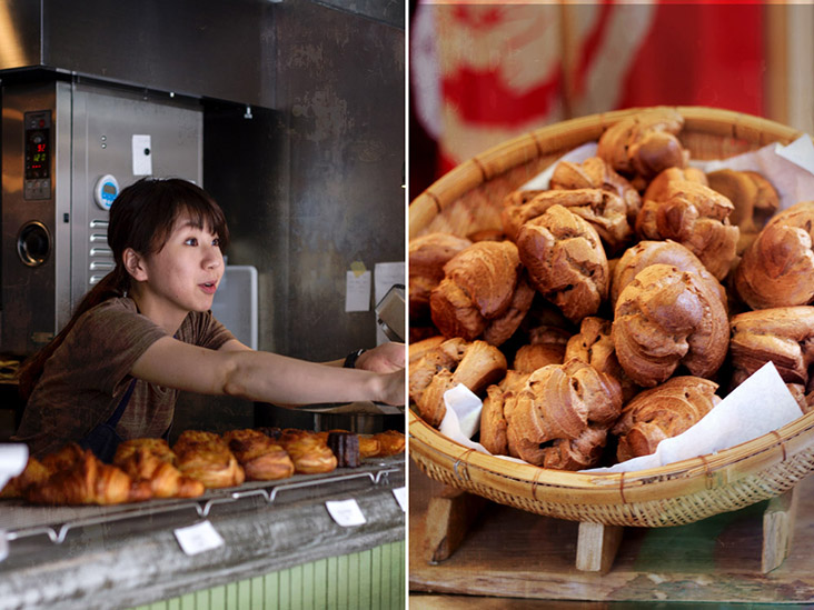 Cafés and 'kissatens' offer a variety of baked autumnal pastries such as  'shu-cream' filled with chestnut purée