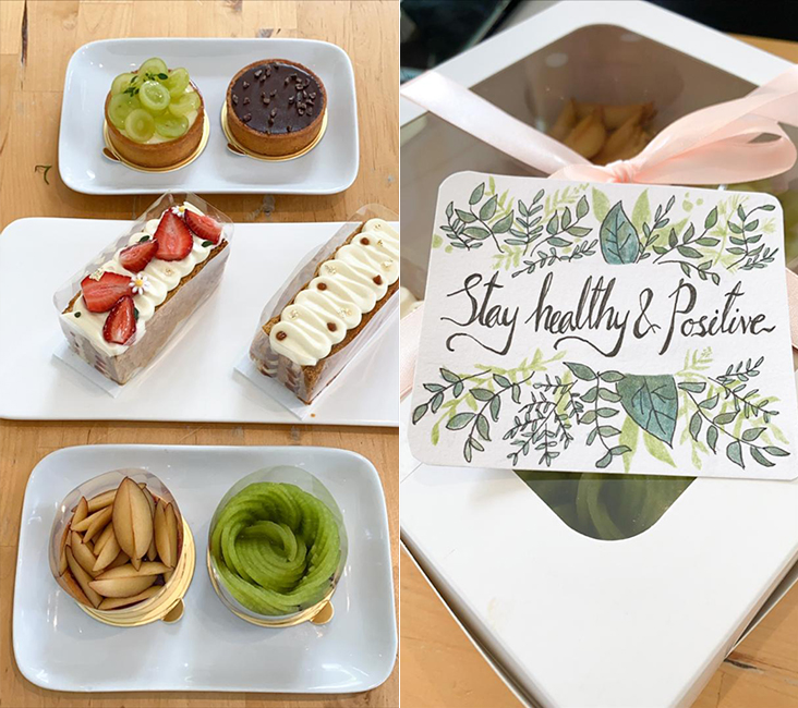 These pretty fruit tarts and mille feuille can be delivered right up to your doorstep (left). Each order is accompanied with a specially-drawn message making it perfect for gifting (right).– Pictures by Lee Khang Yi