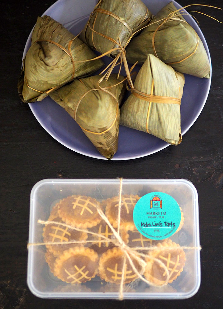 You can gift Madam Lim's pineapple tarts that are packed in a box or order Michelle's Nyonya Chang that are great for a quick, easy meal at home