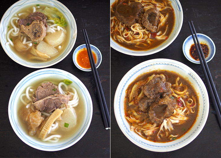 If you like lighter beef flavours with a slight sweetness, the daikon beef brisket soup noodles will hit the perfect spot (left). Warm yourself during the rainy weather with their spicy soup beef noodles (right)
