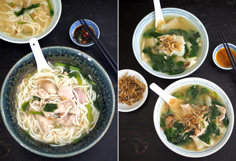 Try the unusual yam noodles at Damansara Kim for a comforting meal (left). 'Pan mee' with hand pulled dough is delicious with a rich-tasting 'ikan bilis' broth and a super spicy chilli sauce (right).— Pictures by Lee Khang Yi