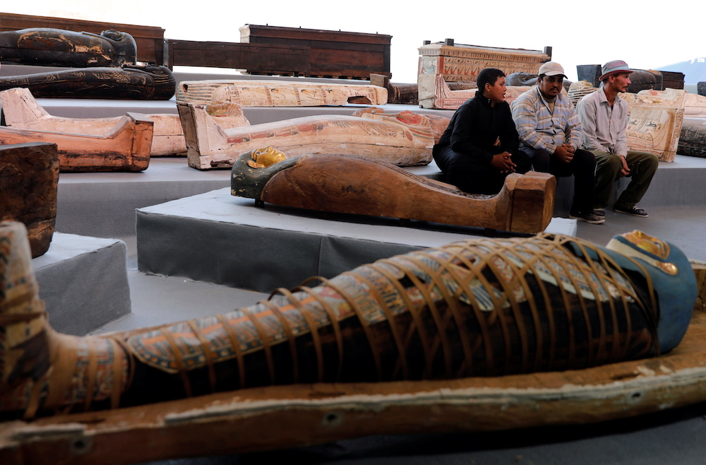 Sarcophaguses that are around 2500 years old, from the newly discovered burial site near Egypt's Saqqara necropolis, are seen during a presentation in Giza, Egypt November 14, 2020. ― Reuters pic