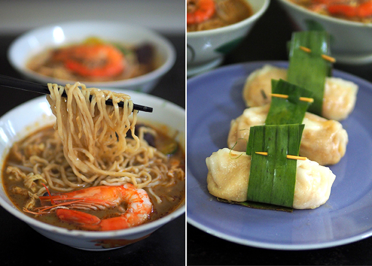The noodles are made in-house (left). You can order 'chai kuih' generously stuffed with yam bean or pick up their frozen ones to steam at home anytime you want (left)