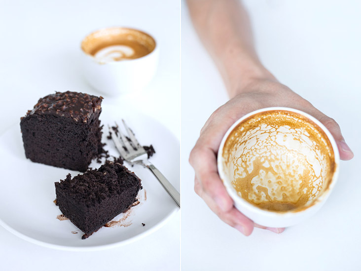 Flat white and a decadently rich chocolate brownie at Cold Blue
