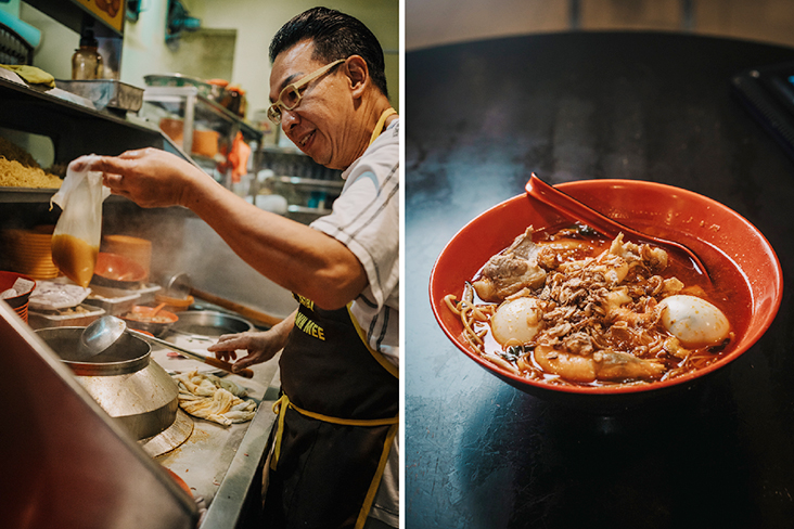 Ah Choon is the man behind Choon Prawn Mee that has been in business for 30 years (left). The prawn mee at Choon Prawn Mee has deep flavours and you get to choose from a variety of toppings (right)