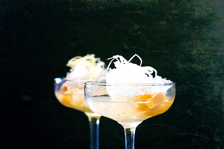 'Linci sala loy kaew' or lychee and snake fruit in syrup, topped with slivers of young ginger.