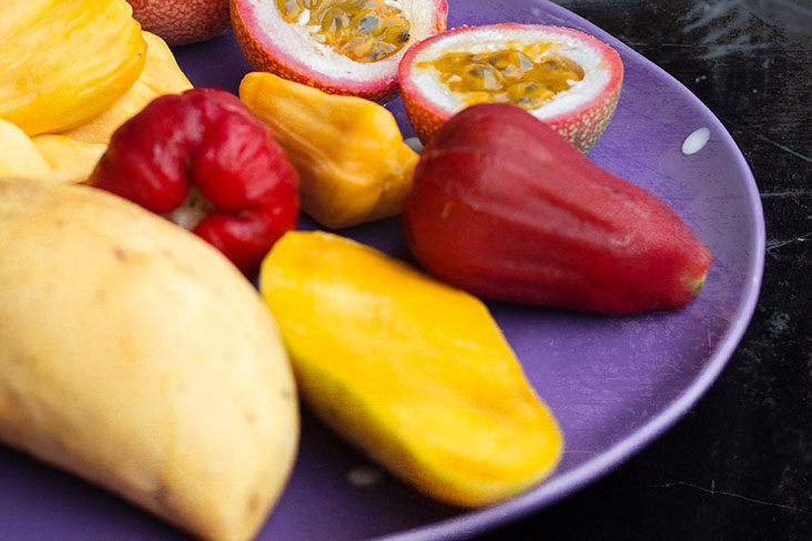 A wide array of tropical fruits, many found in both Malaysia and Thailand, can be included in 'loy kaew.'