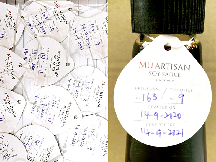 Customers are kept informed of the fermentation urn number and the bottle number of each bottle of soy sauce