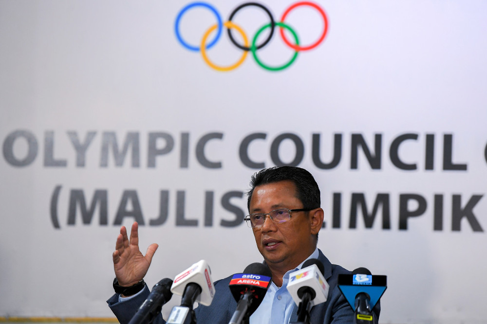 OCM president Tan Sri Mohamad Norza Zakaria at a press conference after the SEA Sports Federation Council (SEAGF) Meeting at Wisma Olimpik Malaysia in Kuala Lumpur, November 20, 2020. — Bernama pic
