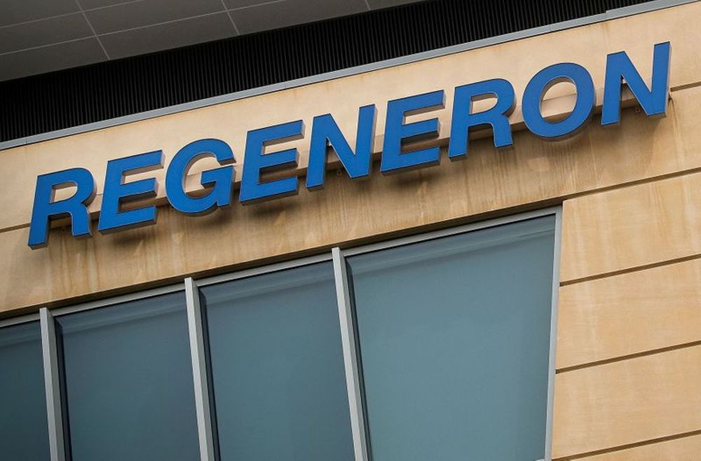 The Regeneron Pharmaceuticals company logo is seen on a building at the company's Westchester campus in Tarrytown, New York, US, September 17, 2020. — Reuters pic