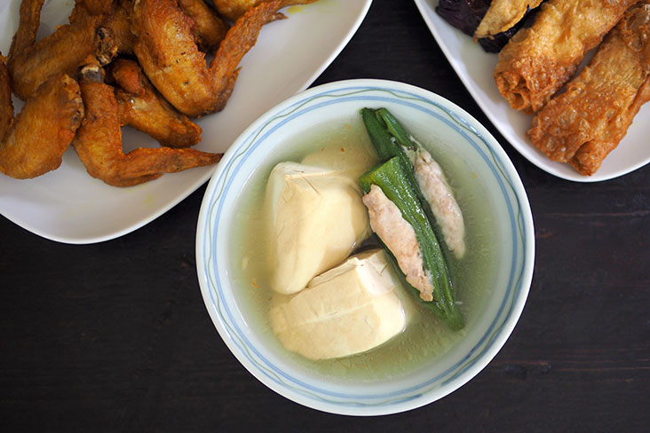 Balance out the fried items with ones served with soup like beancurd and lady's fingers