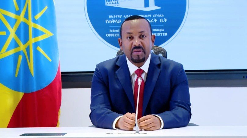 Ethiopia's Prime Minister Abiy Ahmed makes a statement on his official Facebook page, in Addis Ababa, Ethiopia November 8, 2020. — Office of the Prime Minister Press Secretariat video image via Reuters.
