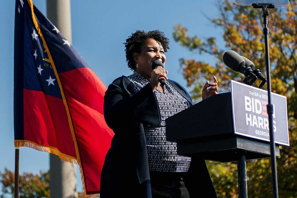 Former Georgia House of Representatives Minority Leader Stacey Abrams speaks in Atlanta, Georgia one day before the US election November 2, 2020. — Reuters pic