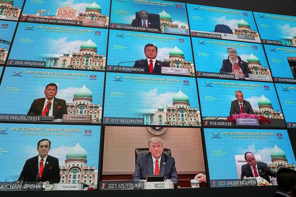 A view shows virtual Apec Economic Leaders Meeting 2020, in Kuala Lumpur, Malaysia November 20, 2020. — Reuters pic