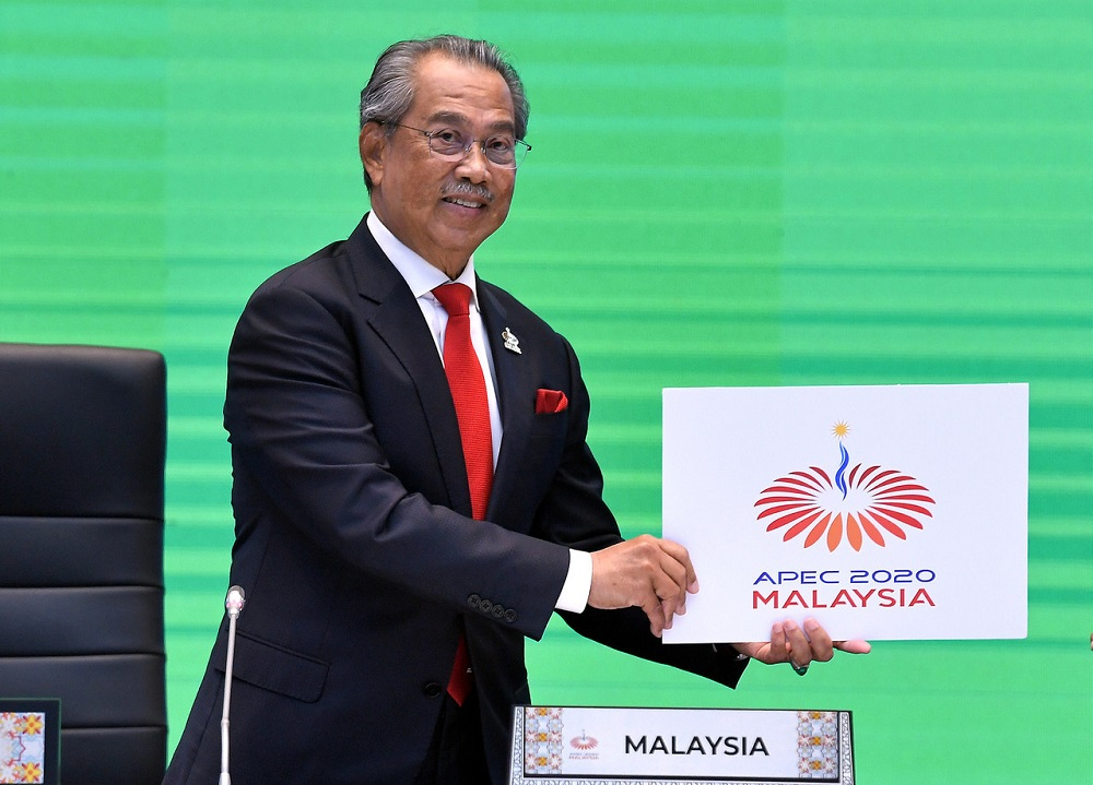 Prime Minister Tan Sri Muhyiddin Yassin poses for a photo during the Asia Pacific Economic Cooperation (Apec) Economic Leaders' Meeting (AELM) in Kuala Lumpur November 20, 2020. ― Bernama pic