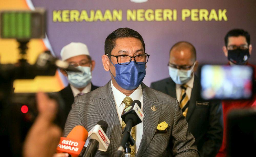 Perak Mentri Besar Datuk Seri Ahmad Faizal Azumu speaks to the press at the State Secretariat Building in Ipoh November 18, 2020. — Picture by Farhan Najib