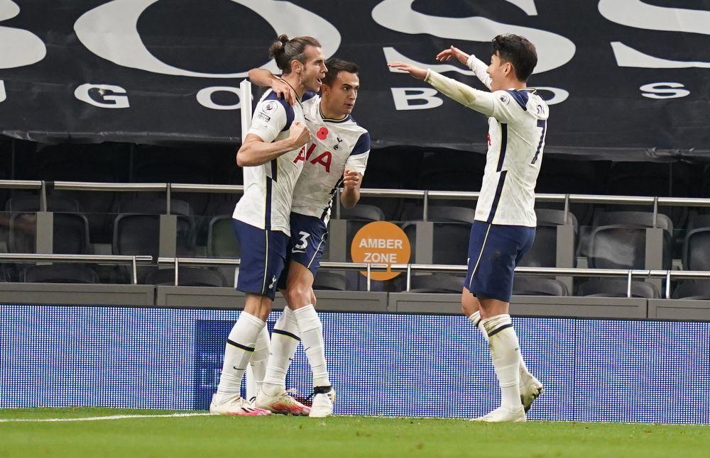 Tottenham Hotspur's Gareth Bale celebrates scoring against Brighton at the Tottenham Hotspur Stadium, London November 1, 2020. — Reuters pic