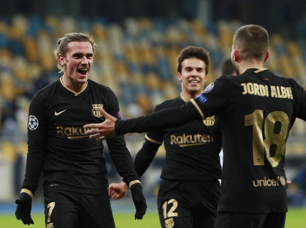 Barcelona's Antoine Griezmann celebrates scoring their fourth goal against Dynamo Kyiv at NSC Olympiyskiy, Kyiv November 24, 2020. — Reuters pic