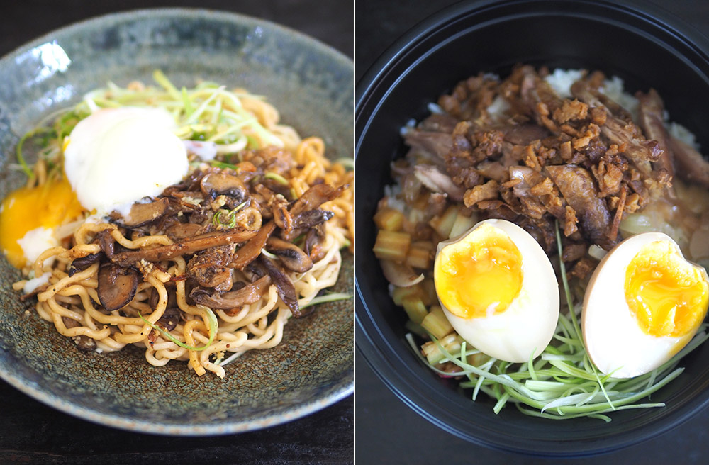 Their four garlic 'mazemen' celebrates garlic in four ways with black garlic, pickled garlic, fried garlic and confit garlic (left). They also offer rice bowls like this crispy duck version with hard boiled egg and an oozy soft centre (right).