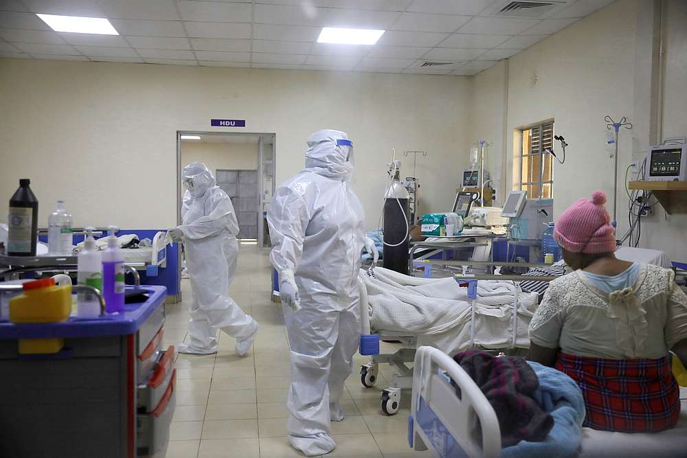 Medical staff dressed in protective suits treat Covid-19 patients at the ICU of Machakos Level 5 Hospital, in Machakos, Kenya October 28, 2020. — Reuters pic