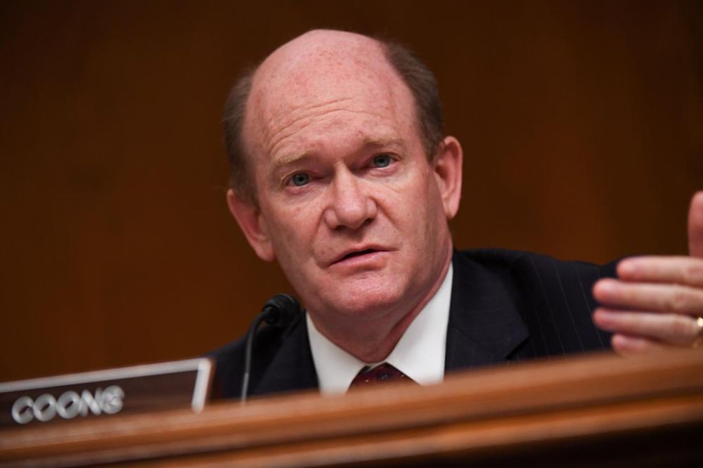Senator Chris Coons (D-DE) questions Ajit Pai, Chairman of the Federal Communications Commission, during an oversight hearing on Capitol Hill in Washington DC, June 16, 2020. — Pool pic via Reuters