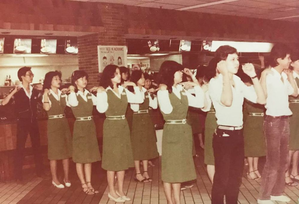 Among the many fond memories the former Yaohan employees have were the daily morning gatherings where they did mass exercises, sang the company's song and the national anthem before starting the work day. — Picture courtesy of Yaohan Singapore 1974 to 1998 Facebook page