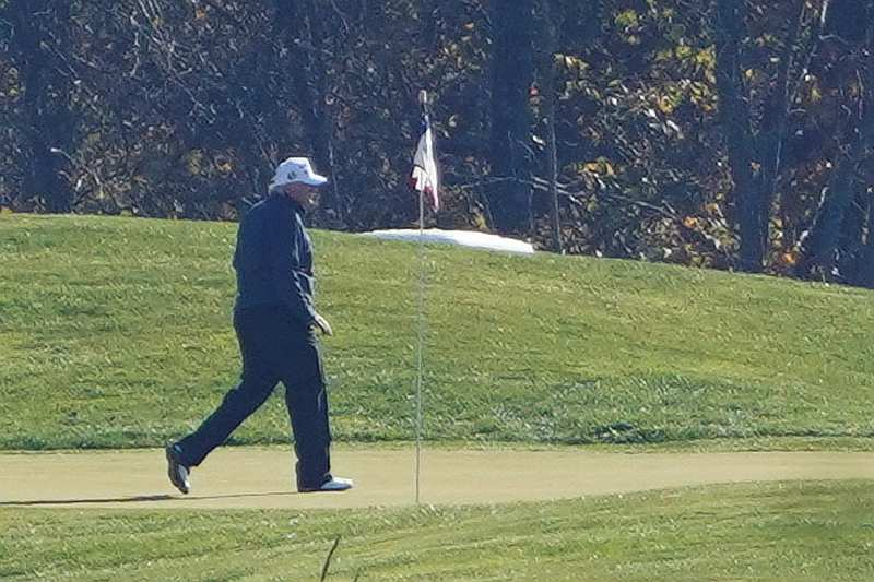 US President Donald Trump plays golf at the Trump National Golf course shortly after news media declared Democrat Joe Biden the winner of the 2020 US presidential election, in Sterling, Virginia November 7, 2020. — Reuters pic
