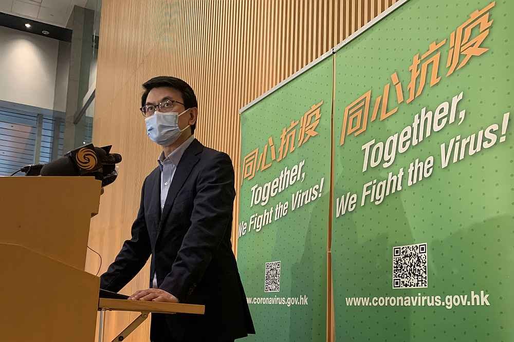 Hong Kong's Secretary for Commerce and Economic Development Edward Yau speaks to the media on the now delayed travel bubble between Hong Kong and Singapore, following a rise in Covid-19 cases in Hong Kong  November 21, 2020. —— Reuters pic