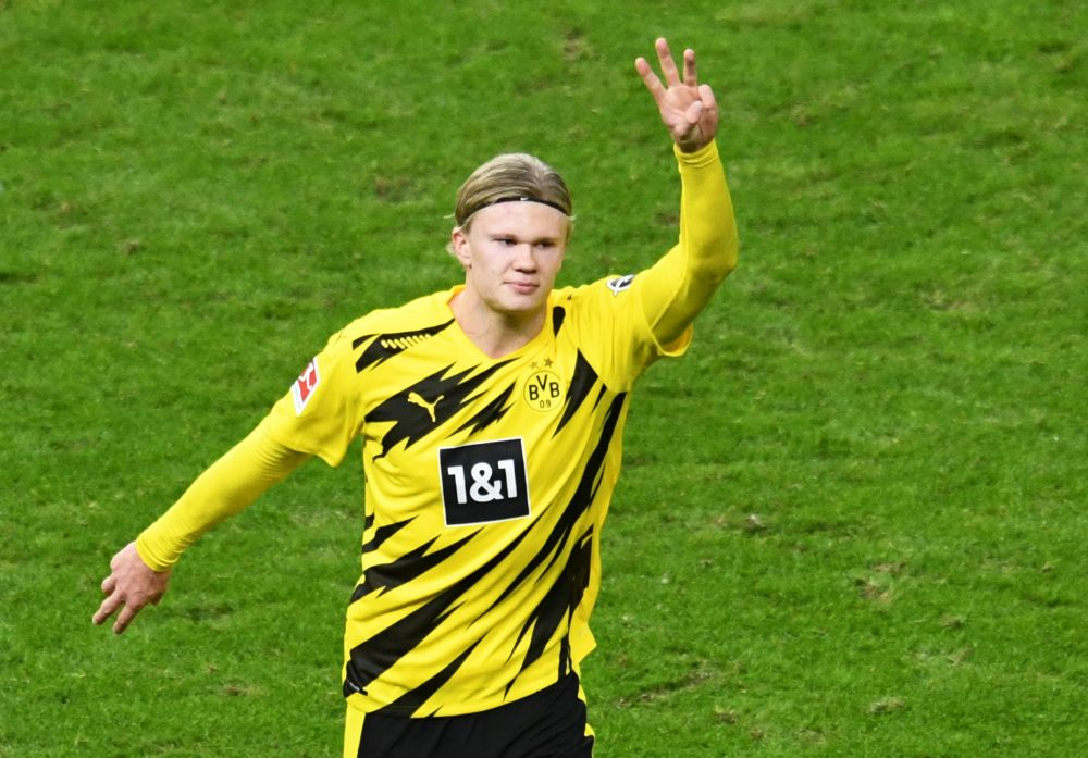 Borussia Dortmund's Erling Braut Haaland celebrates scoring their third goal against Hertha BSC at the Olympiastadion, Berlin November 21, 2020. — Reuters pic