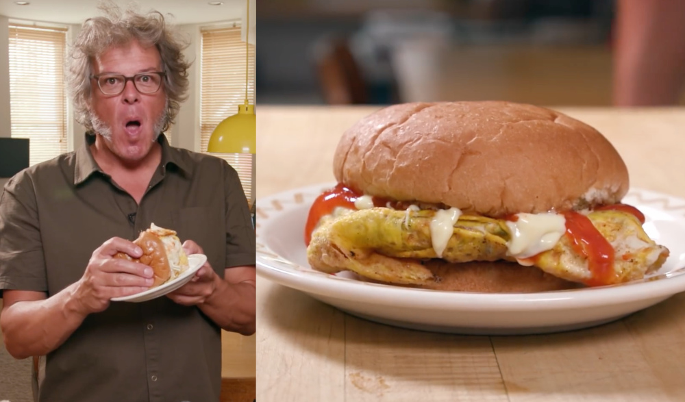 Malaysians were happy to see George Motz using familiar ingredients like Maggi seasoning in his rendition of the Ramly burger. — Screengrabs from YouTube/First We Feast