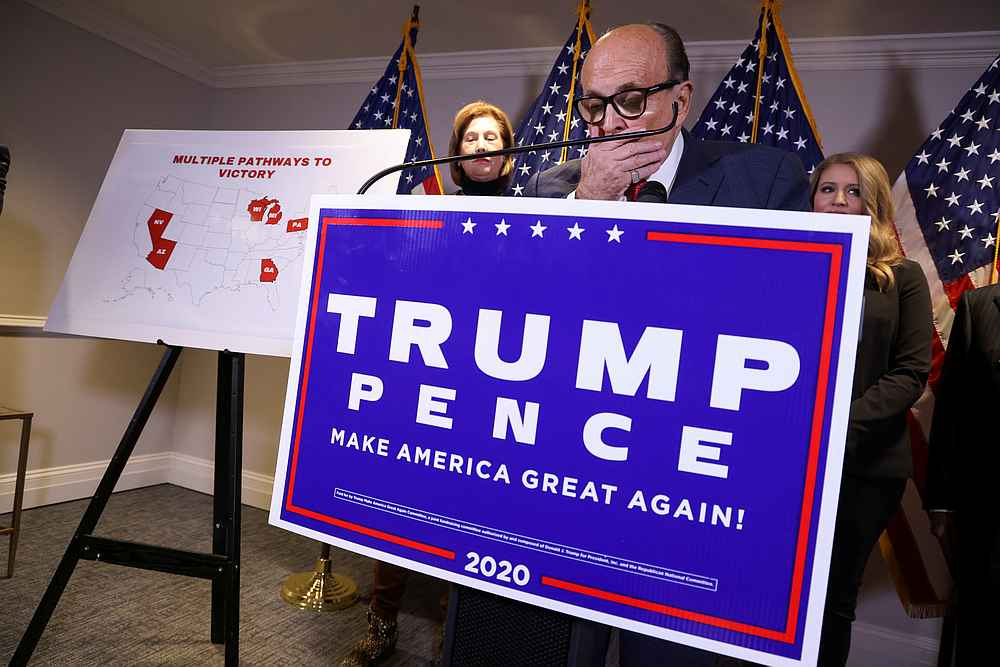 Rudy Giuliani, personal attorney to US President Donald Trump, speaks as he holds a news conference with fellow Trump attorneys Sidney Powell and Jenna Ellis in Washington November 19, 2020. — Reuters pic