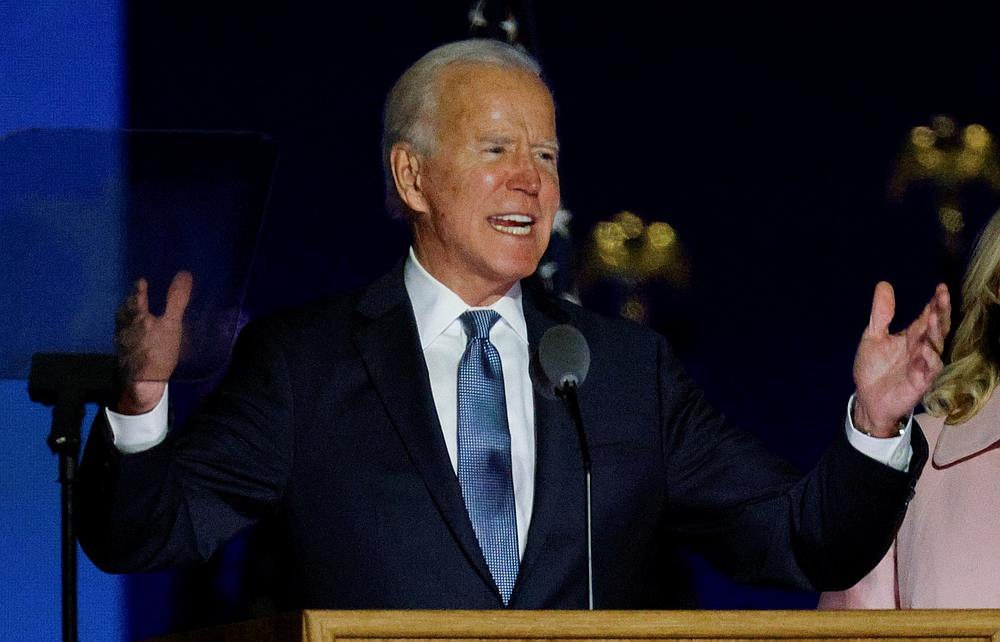US Democratic presidential nominee Joe Biden reacts to early results from the 2020 US presidential election, in Wilmington, Delaware November 4, 2020. — Reuters pic