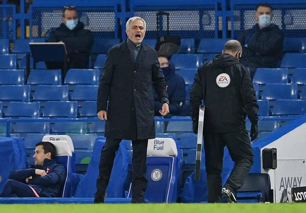 Tottenham Hotspur manager Jose Mourinho during the English Premier League with Chelsea at Stamford Bridge, London November 29, 2020. — Pool pic via Reuters
