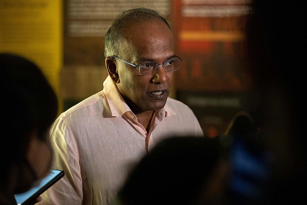 Law and Home Affairs Minister K. Shanmugam speaking to reporters after addressing a seminar organised by the Religious Rehabilitation Group November 24, 2020. — TODAY pic
