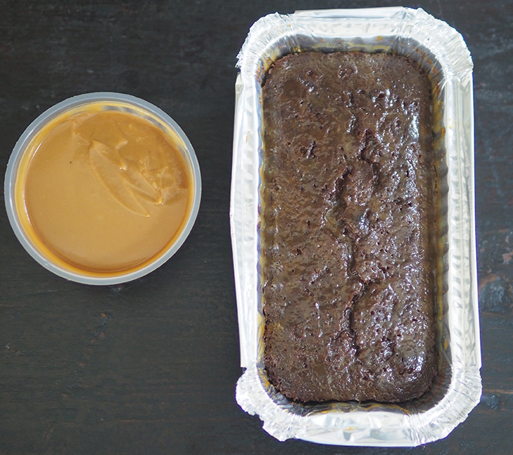 The sticky date pudding comes in an aluminium loaf tin with that decadent creamy toffee sauce in a separate container.