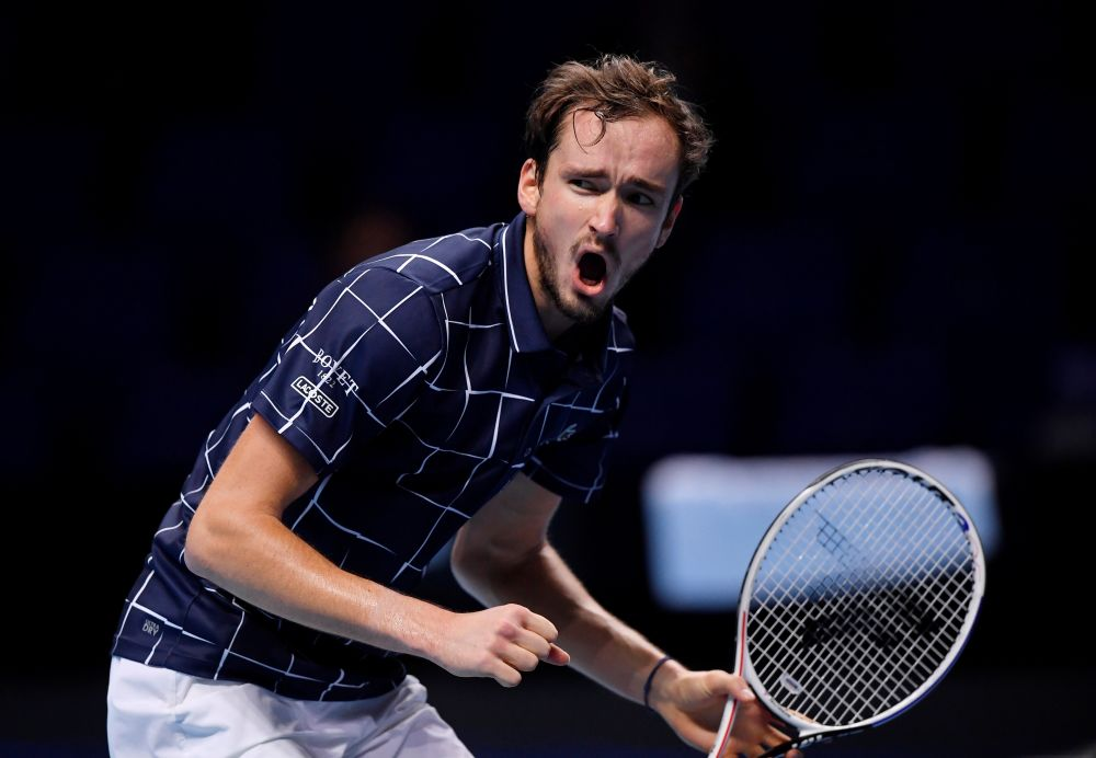 Russia's Daniil Medvedev reacts during his semi-final match against Spain's Rafael Nadal at the O2 Lond