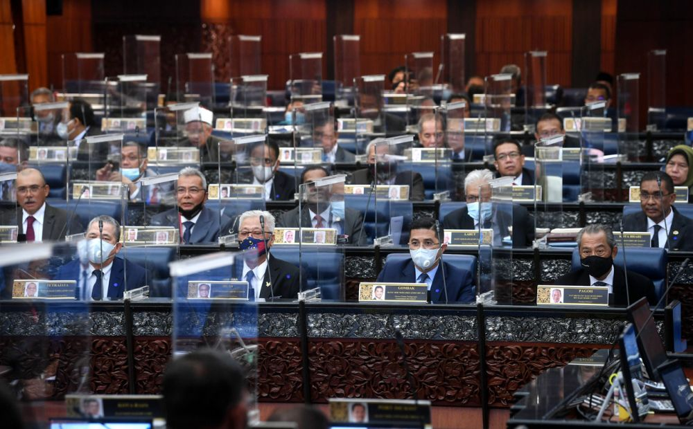 Members of Parliament are pictured in Dewan Rakyat as the 2021 Supply Bill for the Prime Minister's Department is approved at committee stage through bloc voting November 30, 2020. — Bernama pic