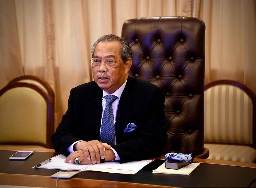 Prime Minister Tan Sri Muhyiddin Yassin is seen during a virtual meeting with the National Security Council November 2, 2020. — Picture via Facebook/Muhyiddin Yassin