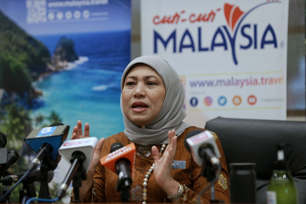 Minister of Tourism, Arts and Culture Datuk Seri Nancy Shukri speaks to reporters during a press conference in Kuala Lumpur November 17, 2020. — Picture by Ahmad Zamzahuri