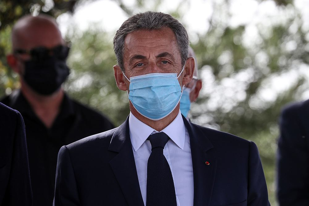 Former French President Nicolas Sarkozy attends a ceremony to pay tribute to the victims of a deadly knife attack at Notre Dame basilica October 29, 2020, in Nice, France November 7, 2020. —— Pool pic via Reuters