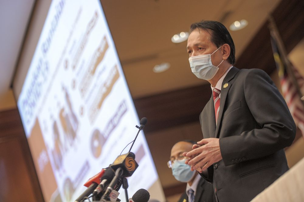 Health Director-General Tan Sri Dr Noor Hisham Abdullah speaks during a press conference in Putrajaya on November 4, 2020. — Picture by Shafwan Zaidon