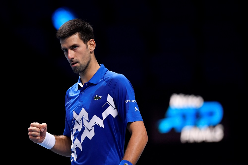 Serbia's Novak Djokovic celebrates during his group stage match against Germany's Alexander Zverev in London November 20, 2020. ― Reuters pic