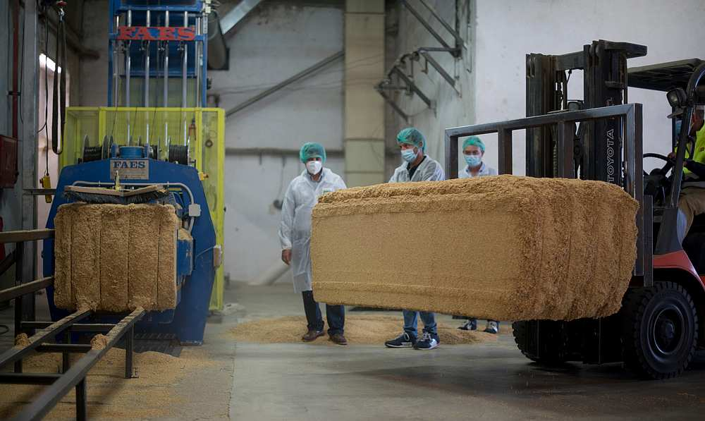 Oryzite transforms rice husks into a new material that is mixed with other components before being molded. — Picture courtesy of Seat via AFP